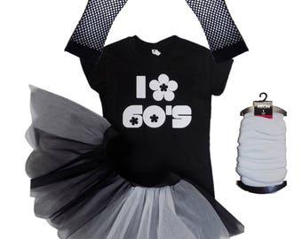 I Love 60s T-Shirt Tutu Skirt Monochrome Black White Legwarmers Gloves Fancy Dress