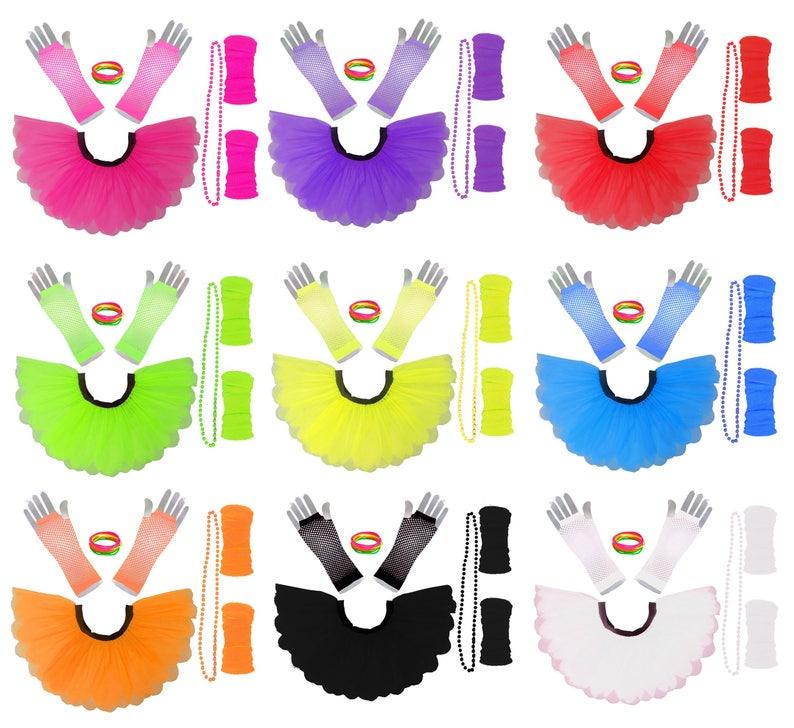 Fishnet Gloves /& 4 Pack Beads Set Neon Fancy Dress 80s Theme Neon Tutu Skirt