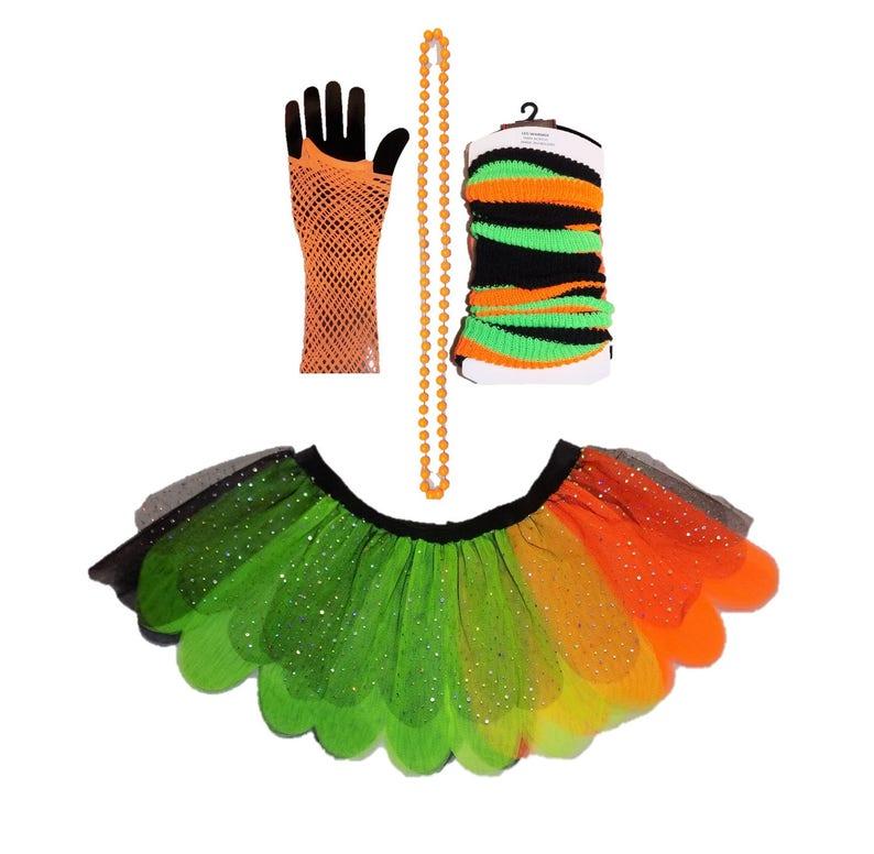 Ladies Book Week Day Stripes Leg Warmers Women 80s Fancy Party Costume Accessory