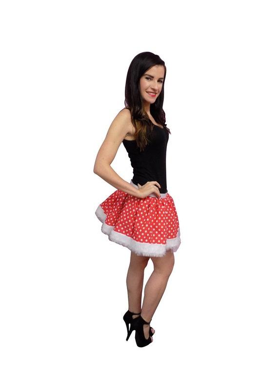 Festive Christmas Minnie Mouse Tutu Skirt Red White Polka Dots White Faux Fur Trim  80 Fancy Dress Hen Party Girls Book Week