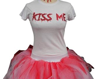 Purge Tutu Skirt Blood Necklace T Shirt Halloween Fancy Dress Candy Girl Pink White