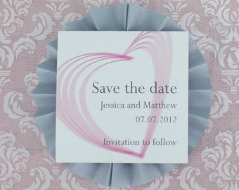 Heart Illustrated Personalised Wedding Save the Date