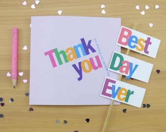 Bright and Bold Wedding Thank You card