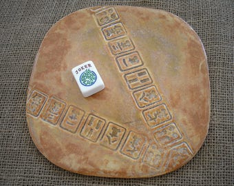 Mahjong Plate - Mahjongg Pottery - Oriental Plate - Mahjong Pottery - Mahjong Snacks - Mahjong Gift - Mahjong Player