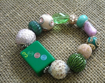 Mahjong Bracelet - Free Shipping - Jesse James  Mahjong - Green  Mahjong - Oriental Jewelry - Mahjong Gift - Gift Idea - Oriental Bracelet