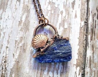 Rough Lapis Lazuli Pendant. Seashell Mermaid Jewelry  Copper Healing Necklace. Electroformed pendant. Unique Crystal Jewelry.