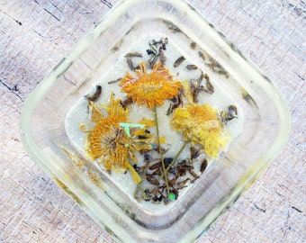 Botanical ring dish. Real pressed flowers. Trinket dish. Catch All Bowl.