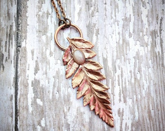 Fern Leaf Pendant with Peach Moonstone, Witchy Jewelry. Leaf necklace.  Copper Healing Necklace. Electroformed pendant. Crystal Jewelry.