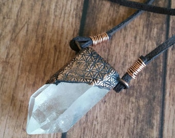 Flower of Life Print Quartz Point Copper Healing Necklace. Electroformed pendant. Unique Crystal Jewelry.