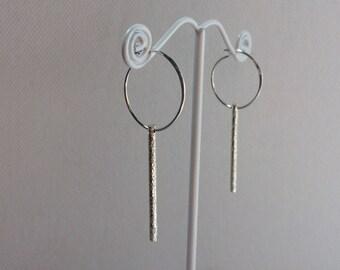 Saturday Night Earrings - Bar Earrings - Short - Sterling Silver - Handmade