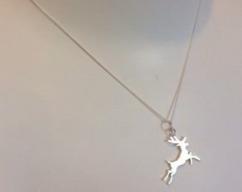 Patterned paper with Laser Cut perspex and Sterling Silver Stag Necklace Reversible 2 in 1 necklace