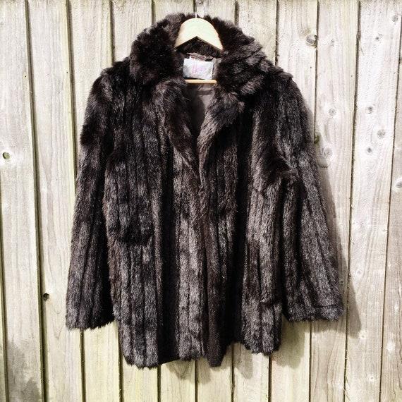 Vintage Faux Fur Winter Coat British Made Fur Coa… - image 7