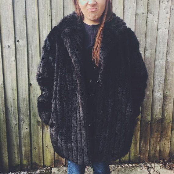 Vintage Faux Fur Winter Coat British Made Fur Coa… - image 4