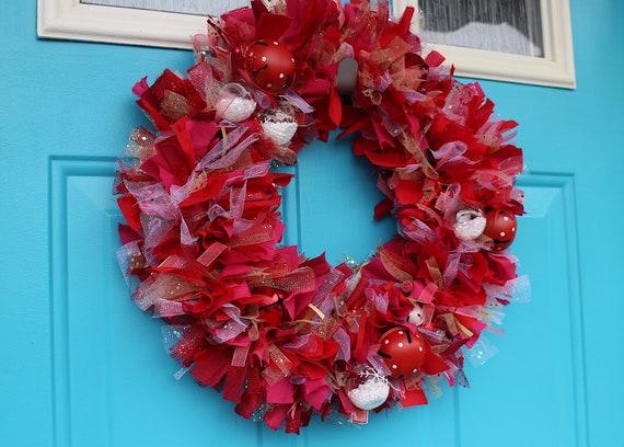 Handtied Fabric Wreath Fabric Wine Wreath Handmade Rag Wreath Wine Lover Wreath Rag Wreath Housewarming Wreath Wine Lover Gift