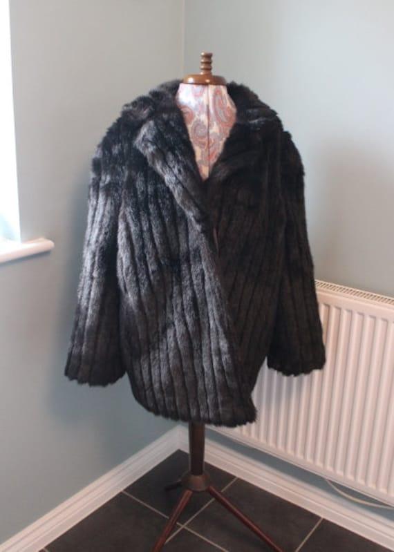 Vintage Faux Fur Winter Coat British Made Fur Coa… - image 1