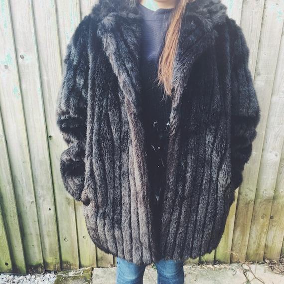 Vintage Faux Fur Winter Coat British Made Fur Coa… - image 2