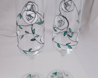 Hand painted bespoke champagne glasses