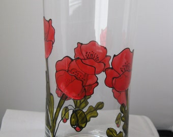 Hand painted glass vase with poppy design
