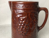 Mid Century or Before Vintage 1930-40s North Star Salt Glaze Stoneware Brown Pottery Pitcher Grape Pattern for Country Home or Bar decor