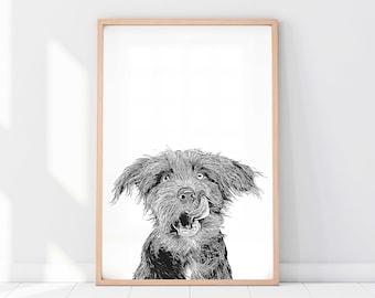 Custom Pet Portrait | Dog Portrait | Cat Portrait | Portrait from Photo | Peekaboo Pet | Pet Memorial Gift | Pet Art | Pet Art Print