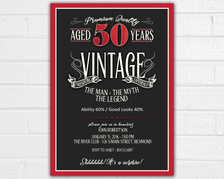 50th Birthday Invitation For Men Jpeg Printable Aged To Etsy