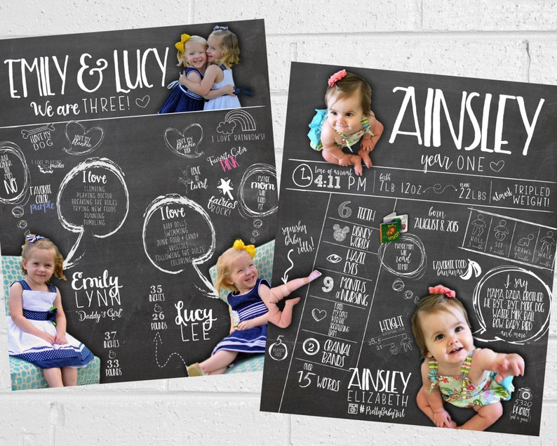 First Birthday Poster Party Sign Personalized Infographic Birthday Infographic Poster Printable Chalkboard JPEG All About Me Photo Prop