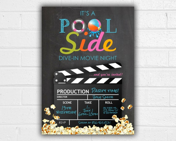 Pool Party Invitation JPEG Printable Movie Party Summer Etsy
