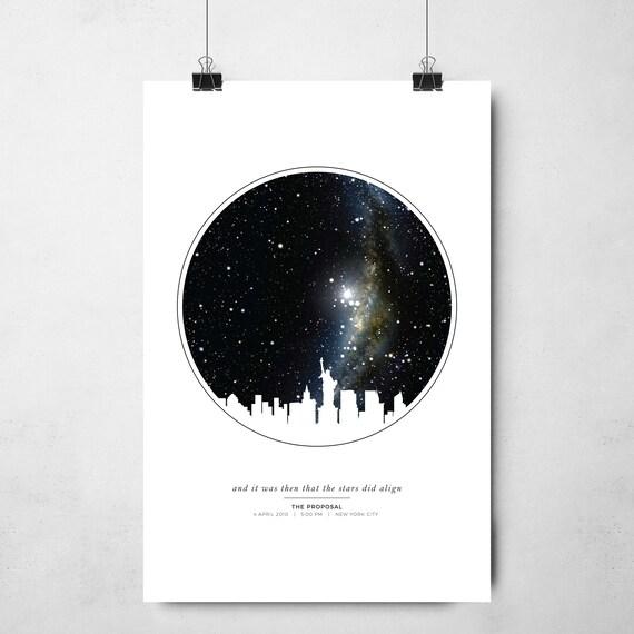 Personalized City Skyline Star Map Gift Night Sky Print Etsy