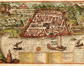 Algiers City Plan, Braun And Hogenberg, 1572