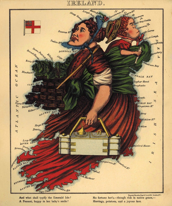Map Of Ireland On Her Face.Whimsical Map Of Ireland W Harvey 1869