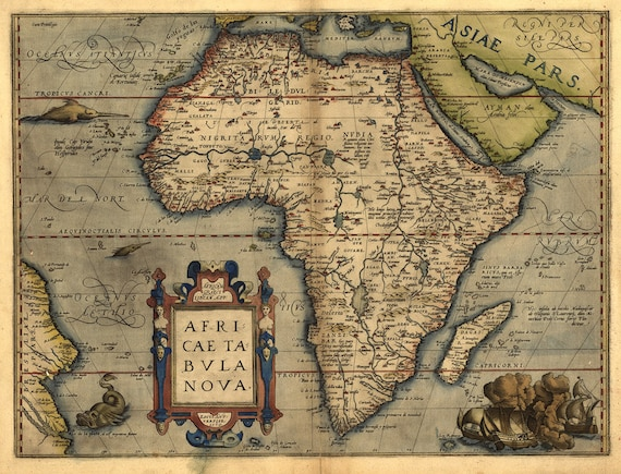 Antique Map of Africa, A. Ortelius 1570