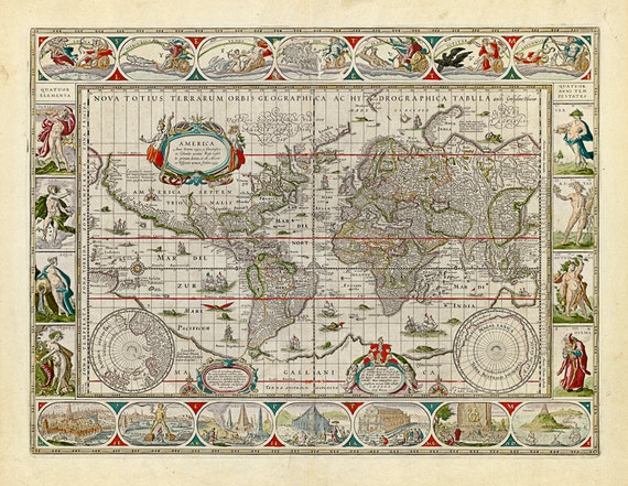 Blaeu World Map.Willem Janszoon Blaeu Antique Map Of The World 1638 Etsy