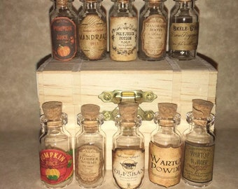 Small Potion Bottle Labels Halloween Witch Wizard DIY Craft or Harry Potter Party Prop Apothecary