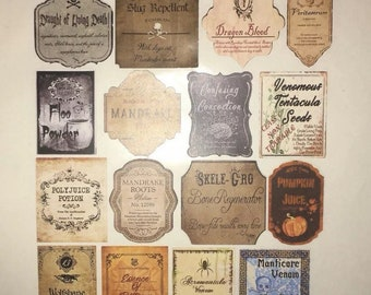 photo regarding Harry Potter Apothecary Labels Free Printable titled Halloween potion Etsy