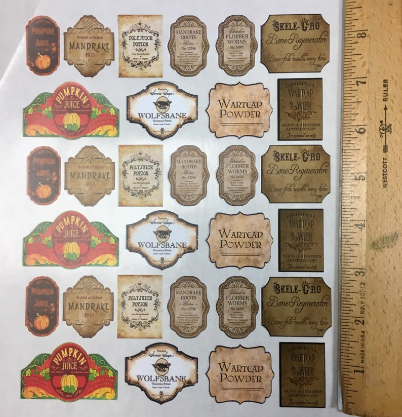 """1.25""""STICKER POTION LABELS Apothecary Harry Potter DIY Party Prop Wedding Favor"""