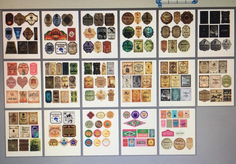 Set of 11 Colors Vintage Style Halloween Potion Bottle Label Stickers Uncut