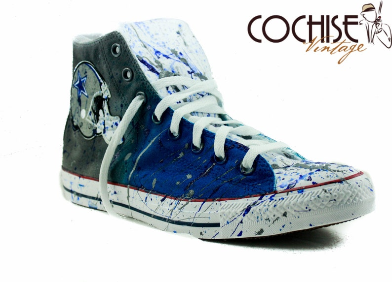 Dallas Cowboys Custom Airbrush Converse Chuck Taylors All Stars,Helmet, Splash Paint Chucks, Airbrush Chuck Taylors,NFL