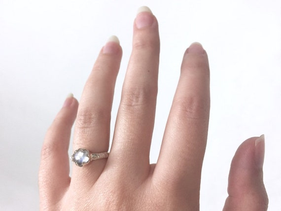 High Polish Sterling Silver 7mm Hexagonal Moonstone Solitaire Ring with Natural Coral Texture Band