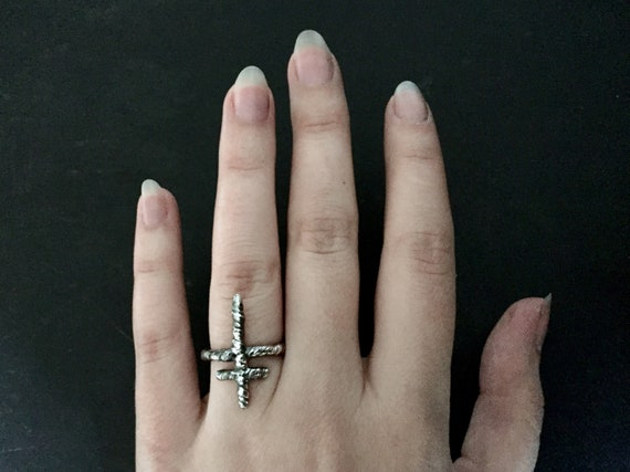 Unisex Lorraine Cross Symbol Rune Ring in Dark Witchy Oxidized 925 Sterling Silver