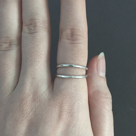 Thin Silver Band Stackable Hammered Double Banded Sterling Silver 925 Midi Ring Faceted with Oxidized Clusters