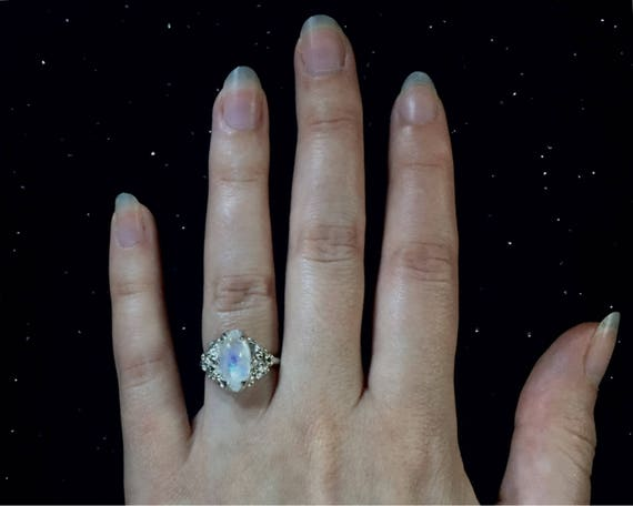 Diamond Marquise Cut 7mm x 14mm Moonstone Flash Ring Solitaire set in High Polish Solid 925 Sterling Silver 6 Prongs