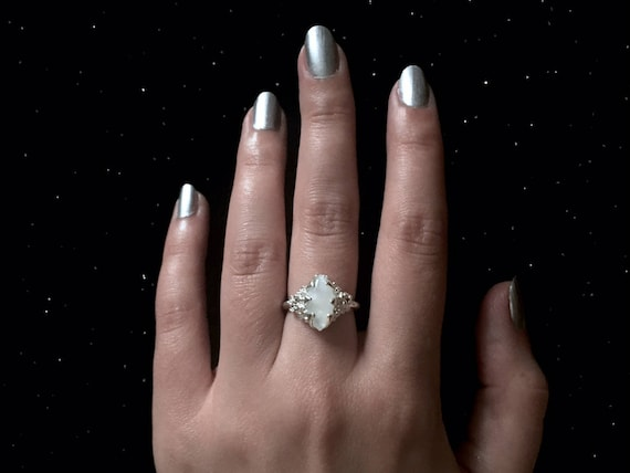 Diamond Marquis Cut Moonstone Ring Solitaire set in High Polish Solid 925 Sterling Silver 6 Prongs 6mmx12mm
