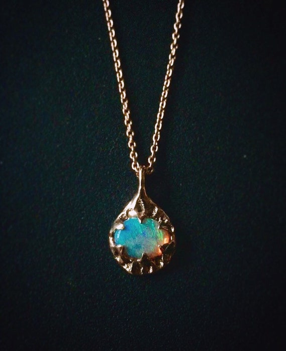 Dainty 14k Rose Gold Opal Pendant Necklace