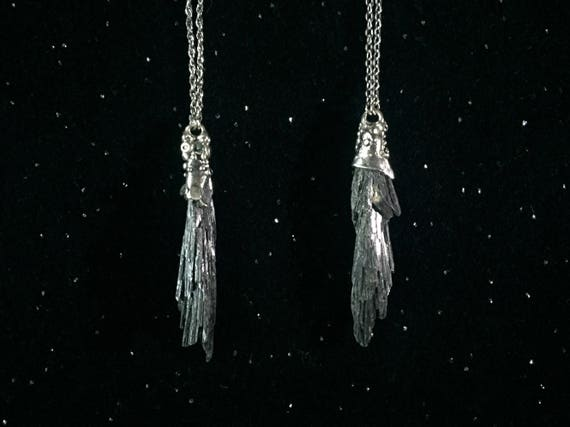 Witchy Broom Organic Texture Sterling Silver Kyanite Broomstick Pendant on Stainless Steel Chain