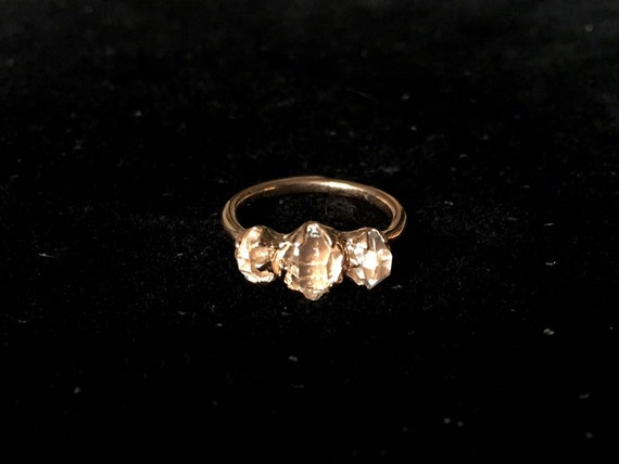 14k Rose / Yellow / White Gold Herkimer Diamond Quartz Triple Stone Engagement Ring