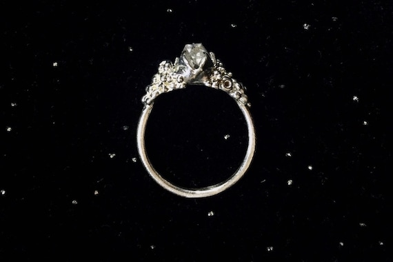 Solid Herkimer Diamond Quartz Ring Solitaire set in High Polish Solid Sterling Silver 925 with Bubble Detail