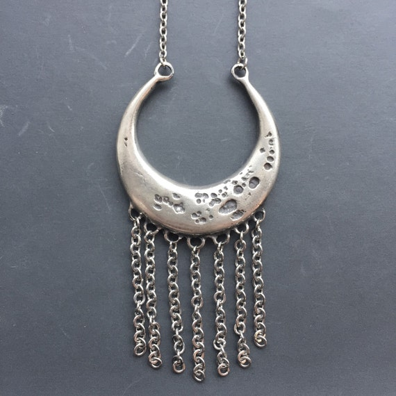 Silver Crescent Moon Necklace Solid Sterling Silver Moon Phase Stainless Steel Full Fringe Necklace Pendant