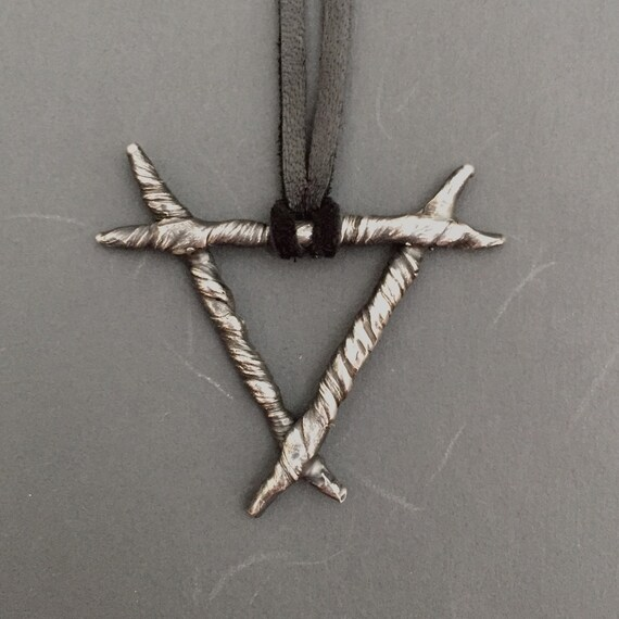 Unisex Fire/Water Alchemy Symbol Rune Long Pendant in Dark Witchy Oxidized 925 Sterling Silver with Stainless Steel Chain