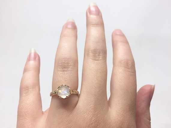 10k Yellow Gold 7mm Hexagonal Moonstone Solid Solitaire Ring with Natural Coral Texture Band