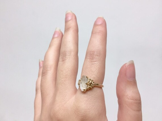 10k Yellow Gold Marquise Facet Moonstone Blue or Rainbow Flash 7x14mm Gem Solitaire Ring with Full Round Band and Bubbles